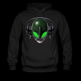 Hoodie - Reptile Green Alien DJ Music Lover