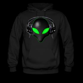 Hoodie - Alien Bug Face Green Eyes in DJ Headphones