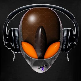 T-shirt Design - Reptile Orange Eyes Alien DJ Music Lover